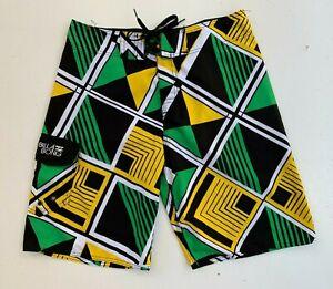 BILLABONG-men-039-s-green-yellow-board-surf-beach-shorts-size-32