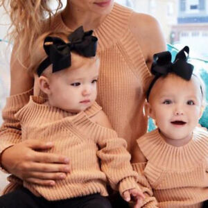 parent child outfit sweaters mom baby women kids girl knit off shold