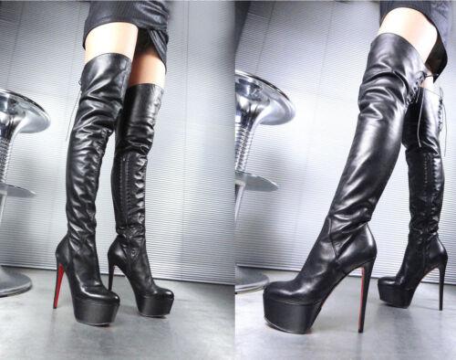 Overknee Platform Stiefel Black 43 Stivali Leather Nero Real Corset Boots Giohel FBgfwxx