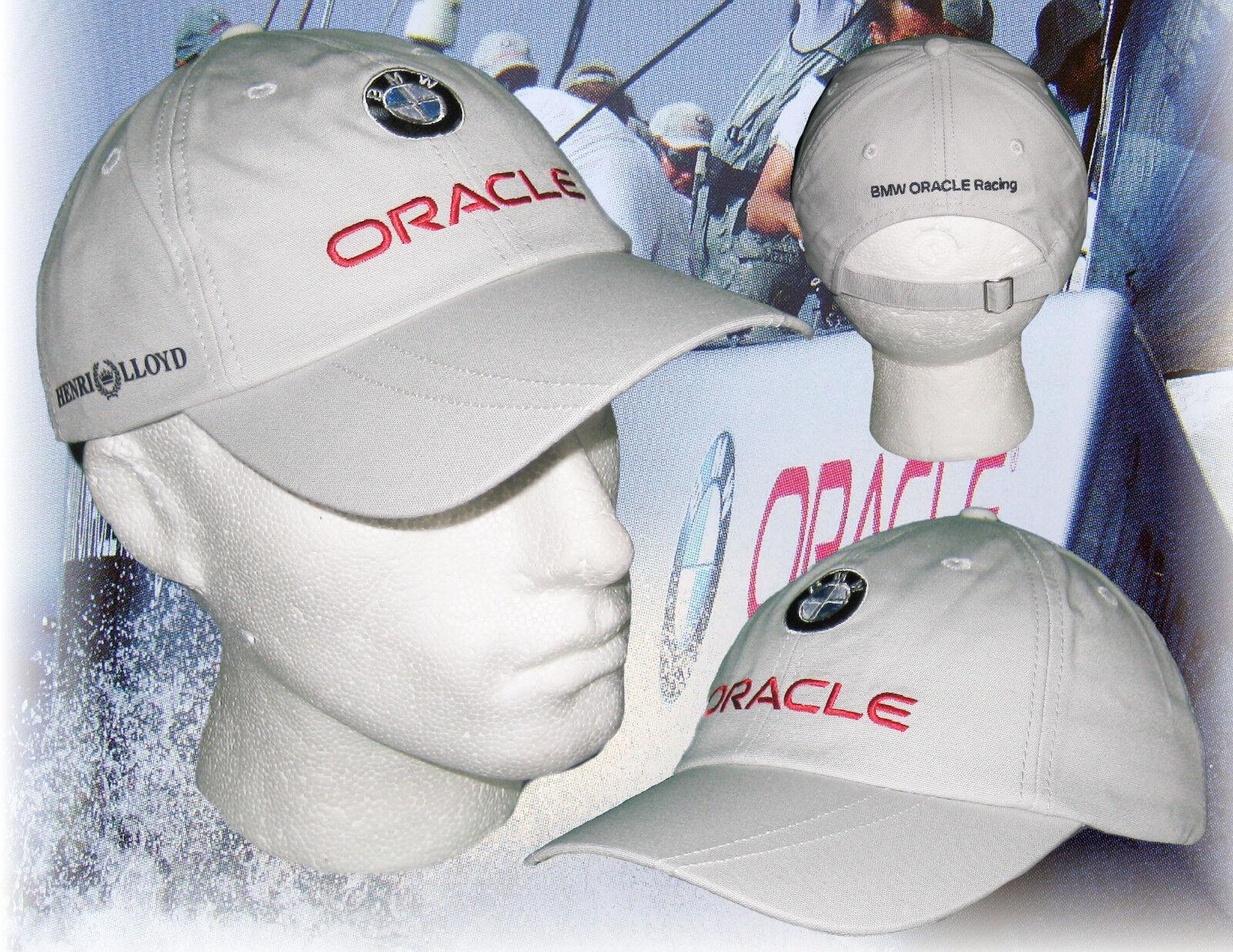 New Vintage Henri Lloyd BMW ORACLE Sailing Racing Adults Baseball Cap Light Grey