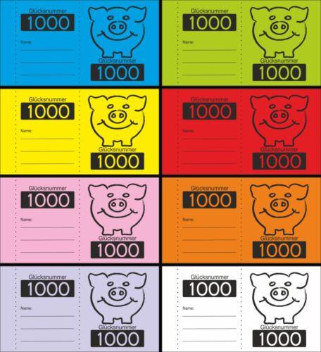 Nr 0001 bis 5000 wählbar 1000 Doppelnummern Schweinchen wählbar 8 Farben