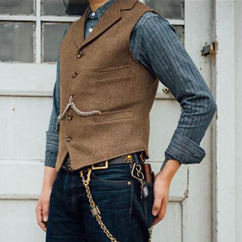 Mens Vintage Wool Blend Tweed Collared Tailored Herringbone Lapel Waistcoat Vest