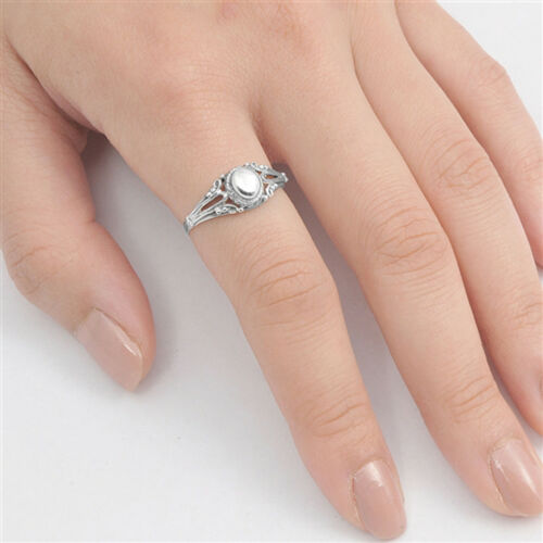 Victorian Style Filigree Oxidized Oval Ring .925 Sterling Silver Band Sizes 5-10