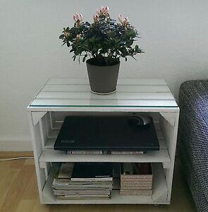 3x wei e obstkisten mit zwischenboden regal b cherregal holzkiste ebay. Black Bedroom Furniture Sets. Home Design Ideas