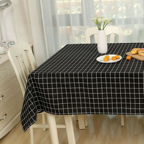 Cotton Linen Tablecloth Check Grid Customed Deco Dinning Kitchen Table Cover