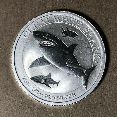 .999 Silver 50 Cent BU Coin 2014 Australian Great White Shark 1//2 Oz
