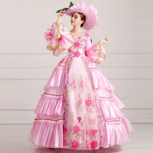 Victorian Medieval Renaissance Women Dress Pink Theater Ball Gown Court Costumes
