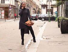 Zara Roll Polo Neck Top Asymmetric Maxi Jumper Dress Long Tunic Knit Wear M