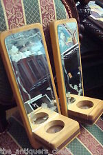 Pierre Hivon pair of wooden wall candle holders with mirror, made in Canada[*]