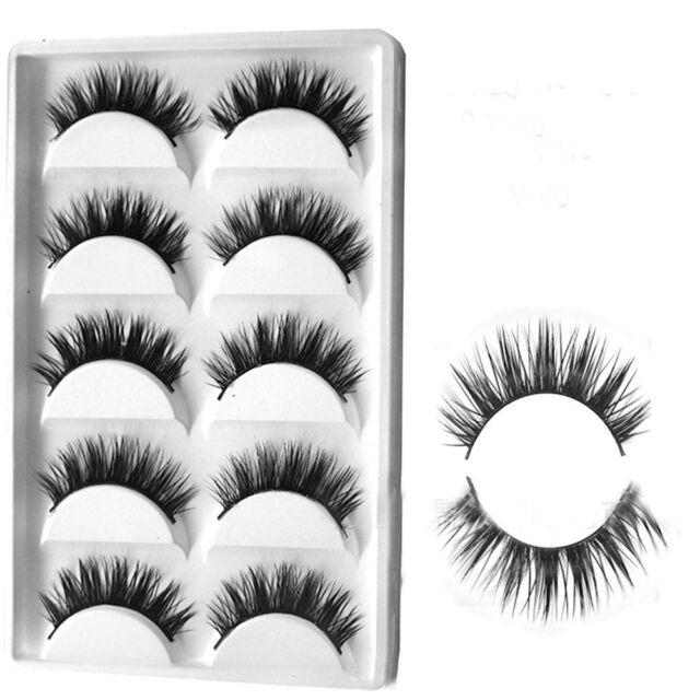 5 Pairs Luxurious 3D False Eyelashes Cross Natural Long Eye Lashes Makeup Finest