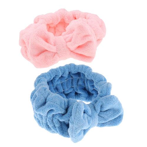 2x Süße  Bow Weiche Handtuch Haarband  Stirnband Für Bath Spa Make Up