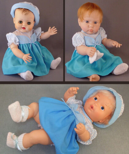 Aqua Doll Dress with Polkadots Old Store Stock gown fits 16-18 inch Babydolls