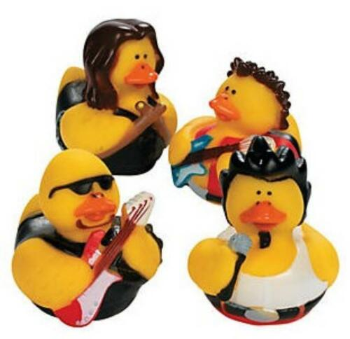 SET OF 4 ROCK POP STAR RUBBER DUCK DUCKIES NOVELTY TOY COLLECTABLE GIFT IDEA