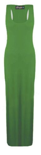 Womens Ladies Plus Size Plain Racer Back Stretchy Long Jersey Maxi Dress 8 to 26