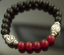 Anti Inflammatory SCENT THERAPY Beaded Bracelet SAGE Yin Yang Onyx & Red Jade