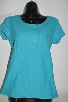 Women's Jones York Sport Floral Lace Henley S/s Shirt Top Scuba Blue Small