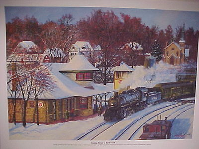 """Railroad Art 5403 /"""",18X24/"""" signed Winfield,Mo Pac,/""""Coming Home to Kirkwood MO"""