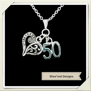 Image Is Loading 50TH BIRTHDAY GIFT NECKLACE VARIOUS CHARMS STERLING SILVER
