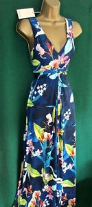 New-MONSOON-Uk-8-10-Blue-Floral-CAMILLE-Stretch-Jersey-Holiday-Long-MAXI-Dress