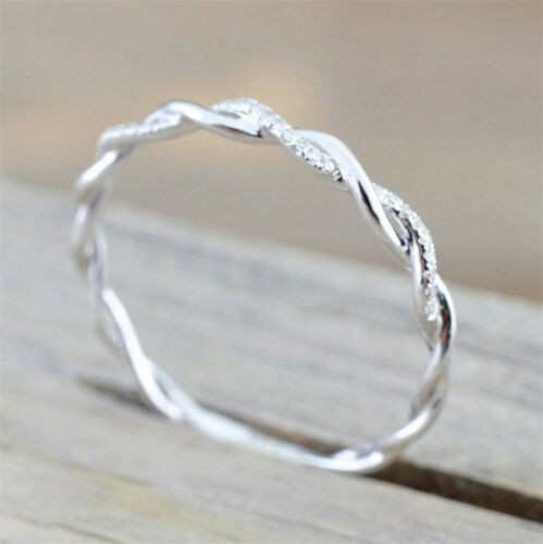 Twist Rope For Women Simplicity Hight Quality Round Rings Set in drill