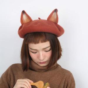 Lady-Sweet-Fox-Ear-Beret-Cap-Lolita-Vintage-Genuine-Barett-Wool-Warm-Painter-Hat