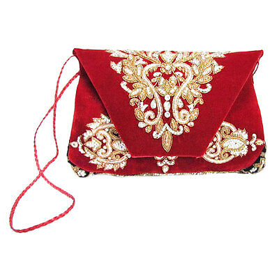 New Indian Antique Velvet Kundan Baded Work Handmade Floral Clutch Bag & Purse 6