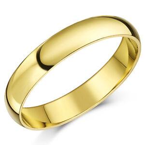 9Ct-Anillo-Oro-Amarillo-Peso-Ligero-Forma-de-D-Alianza-4mm-Hombres-para-Mujer
