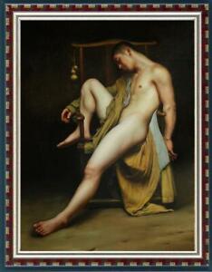 "Hand painted Original Oil Painting Portrait art boy male nude on canvas 24""x36"""