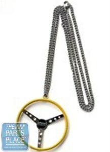 Officially-Licensed-HOT-ROD-Magazine-Steering-Wheel-Necklace-Yellow