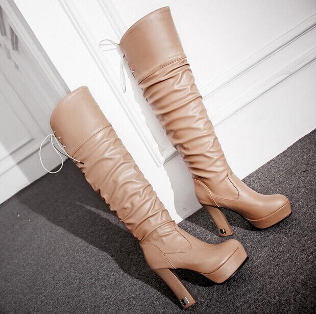 Stiefel klassiker frau schenkel winter komfortabel up knie frau ferse 10 cm 087