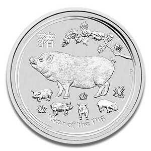 1 Unze Lunar II Schwein 2019 Silbermünze - Jahr des Schwein - in Münzkapsel