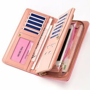 Women-039-s-Large-Capacity-Leather-Long-Clutch-Wallet-Billfold-Zip-Around-Purse-Bag