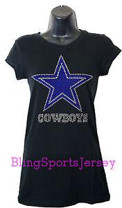 11702f070 Image is loading Dallas-Cowboys-Jersey-Rhinestone-Bling-T-shirt