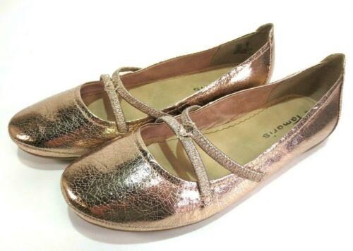 TAMARIS Ballerinas rosé gold Metallic Glanz Riemchen Schuhe NEU