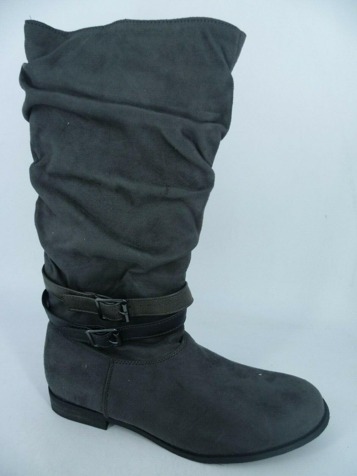 City Walk Knee High Buckled Boots Grey UK 6 EU 39 LN093 QQ 05