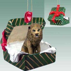 LION Green Gift Box Holiday Christmas ORNAMENT | eBay