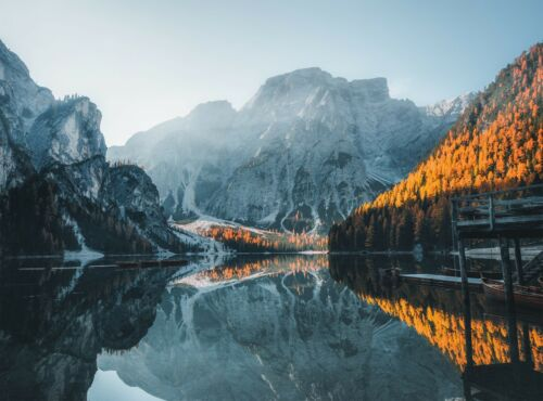 Lake in Dolomites Mountains   Wall Mural Photo Wallpaper GIANT WALL DECOR