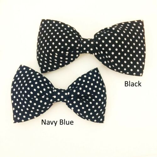 11cm Large Polka dot Bow Headband Black Navy Blue Retro xx