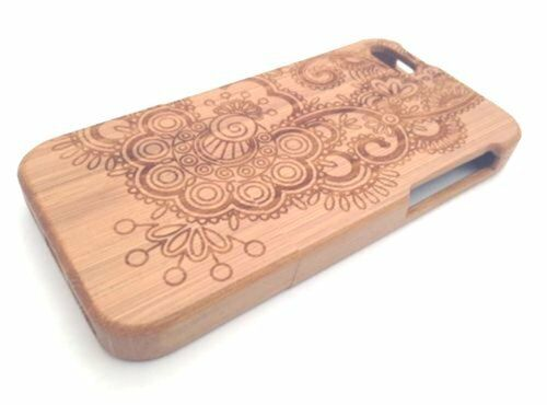 Luxury Natural Wood Henna Design Wooden Case Cover for iPhone 5 5S 5C iPhone 6s