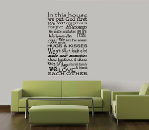IN THIS HOUSE WE PUT GOD FIRST VINYL LETTERING WALL DECAL WORDS - How do i put on a wall decal