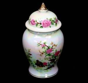 Vintage-pretty-lustre-ware-quails-amp-flowers-lidded-ginger-jar-urn