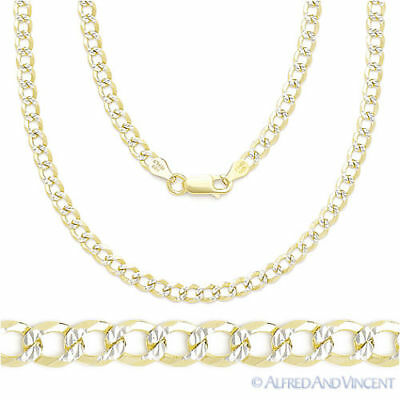 Cuban Curb 925 Sterling Silver 14k Yellow Gold 4.2mm Link Italian Chain Necklace