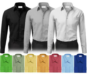 Men Tailored Button Up Classic French Convertible Cuff Formal Solid Dress Shirt