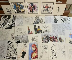 HUGE 35 pc Comic Art Lot Originals Marvel DC Batman Avengers Spider-Man Deadpool