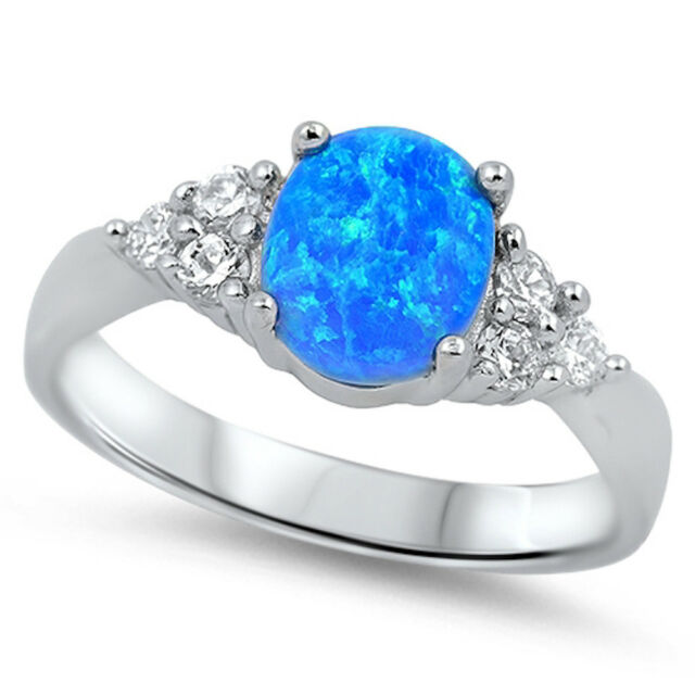 Best Seller! Blue Opal & Cz .925 Sterling Silver Ring Sizes 4-12
