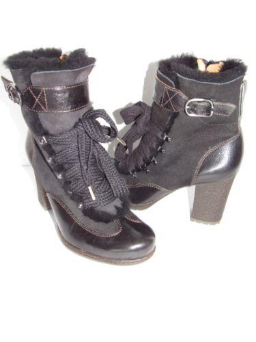NAYA Nefertiti Black Suede Leather Chunky Heel She