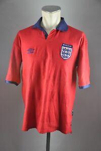 England-Trikot-2000-Gr-XL-Umbro-Jersey-WM-EM-Shirt-Away-rot-vintage