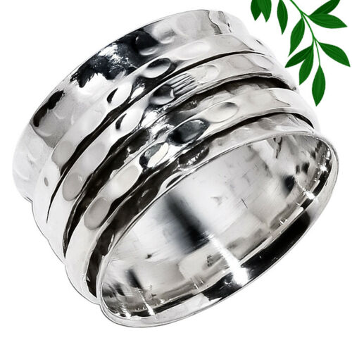 Handmade Hammered Three Band Spinner Ring 925 Sterling Silver Jewelry
