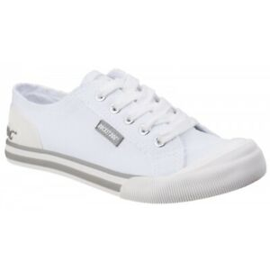 Rocket-Dog-JAZZIN-CANVAS-Ladies-Womens-Lace-Up-Soft-Cotton-Casual-Trainers-White