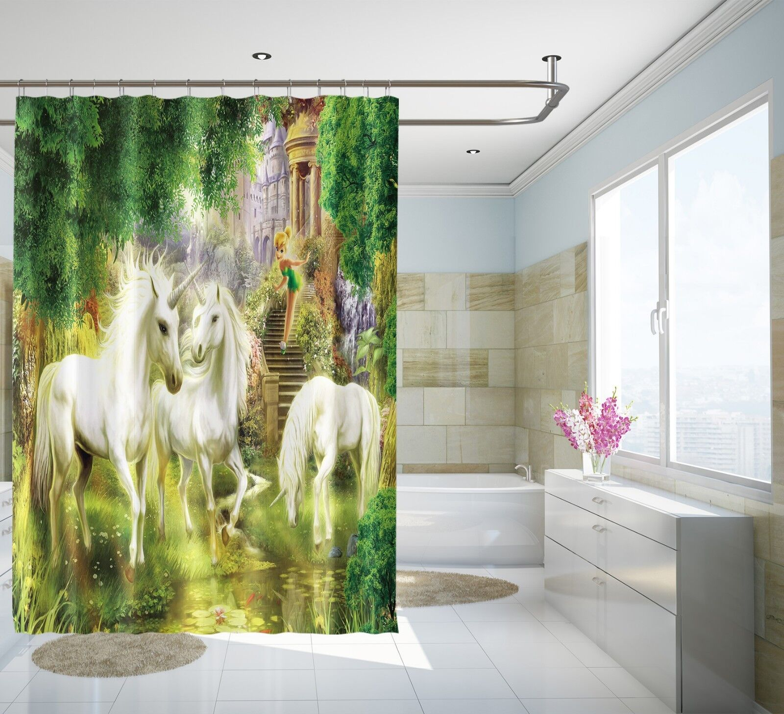 3D Unicorn forest 43 Rideau de Douche Imperméable Fibre Salle De Bain Windows Toilette